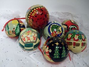 Vintage Decoupage Bloomingdales NYC Christmas Ornaments.