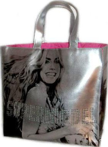 Heidi Klum is on this large silver  and pink Super Model tote bag from Victoria's Secret.