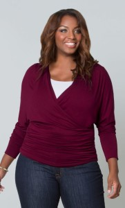 faux wrap top red 1